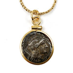 14k Gold Filled Genuine Ancient Greek Coin Necklace (Athena; 280-270 B.C.)