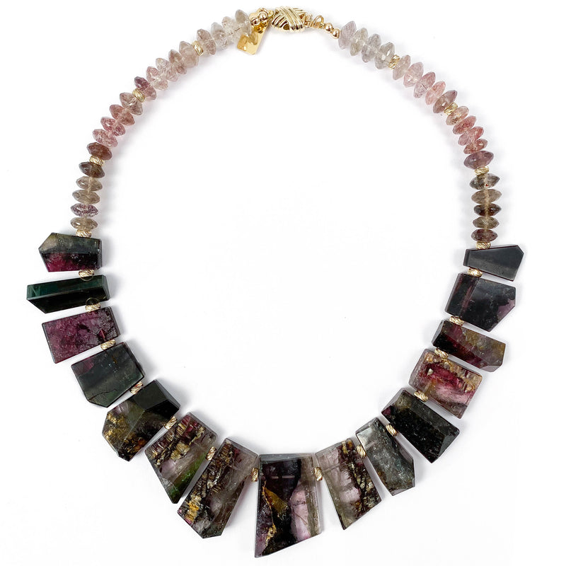 AAA Quality Tourmaline & Super Seven Crystal 14k Gold Necklace