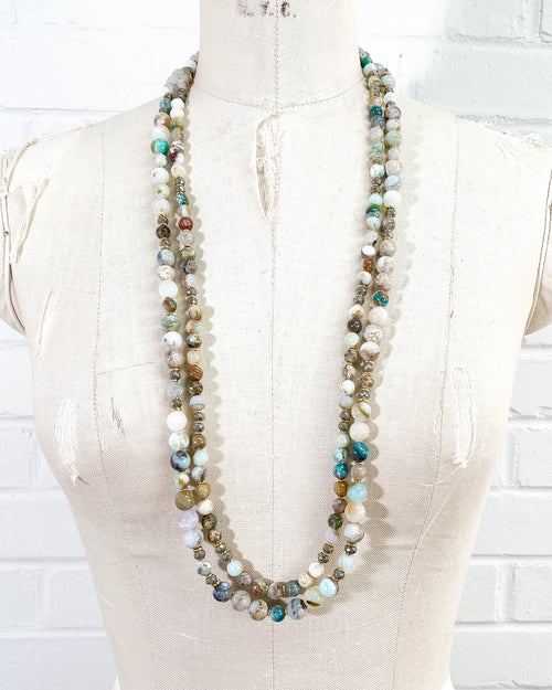 Round Peruvian Opal Double Strand Necklace