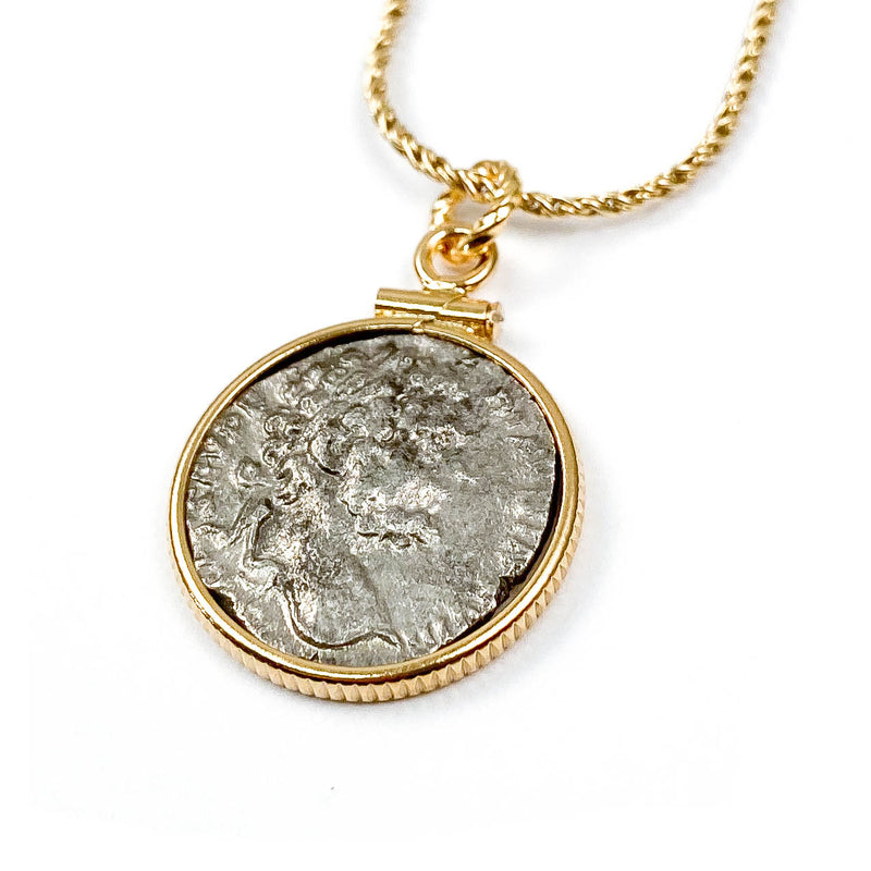 14k Gold Filled Ancient Roman Coin Necklace (Severus; 192-211 A.D.)