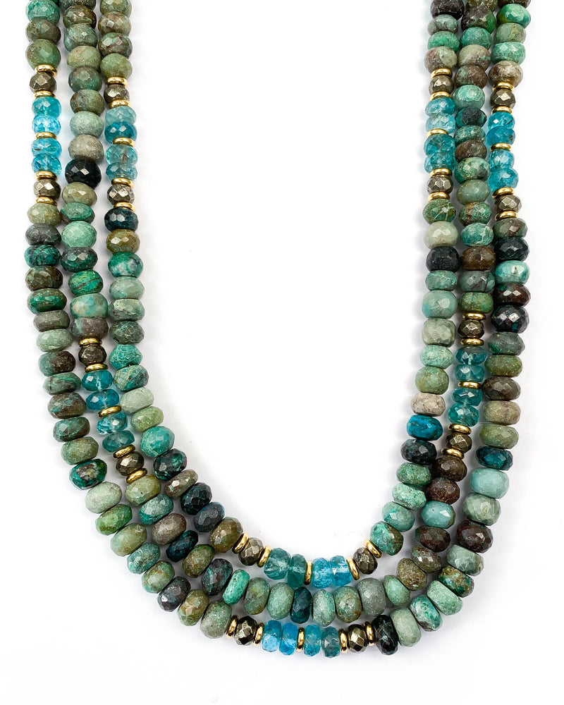 Chrysocolla & Apatite Triple Strand Necklace