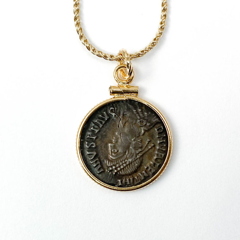 14k Gold Filled Genuine Ancient Roman Coin Necklace (Valentinian I; 388-392 A.D.)
