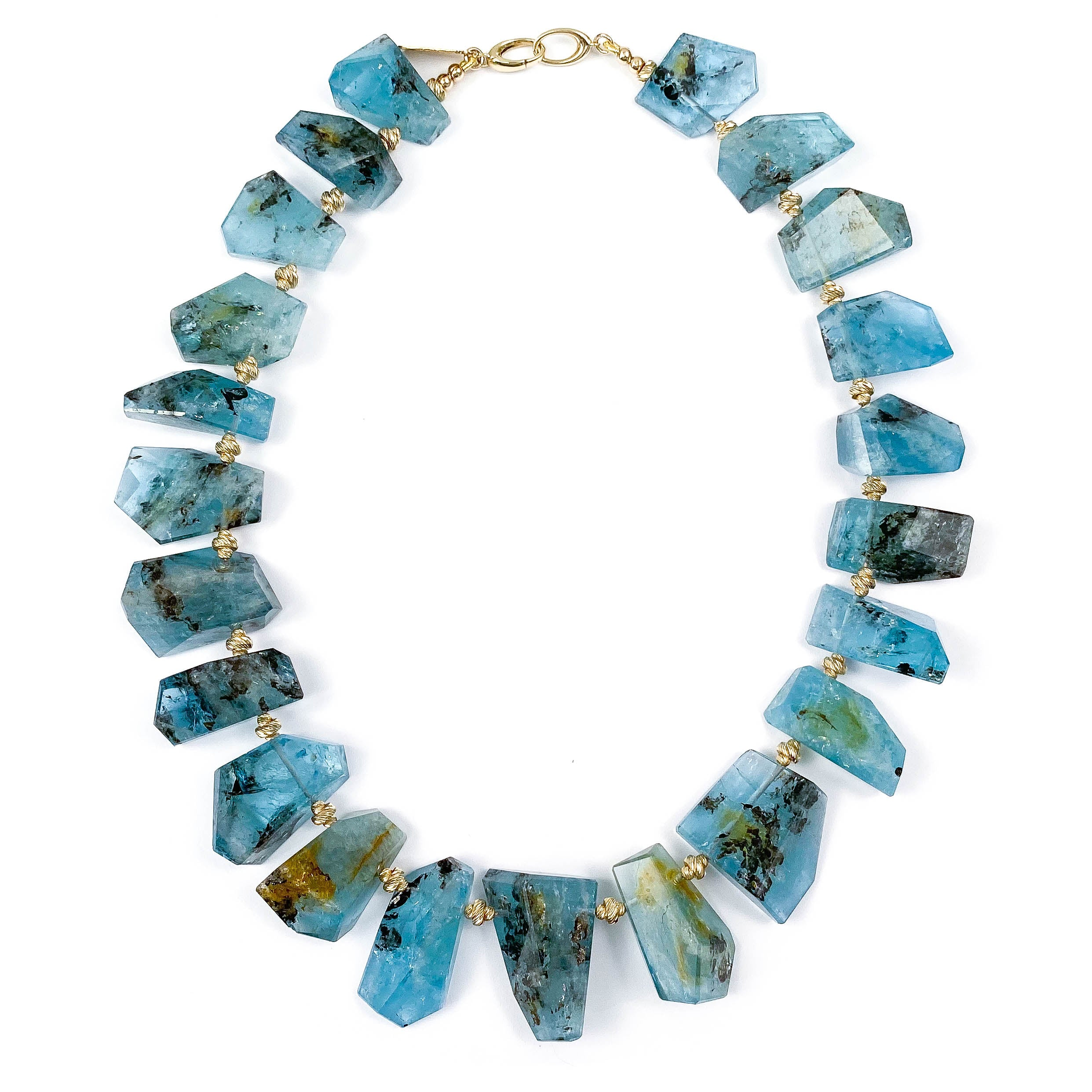 14k Gold AAA Quality Rutilated Aquamarine Necklace