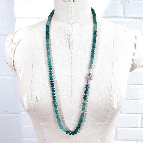 Hand-Knotted Pavé Diamond & Grandidierite Strand Necklace