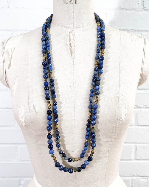 Denim Blue Dumortierite Double Strand Statement Necklace