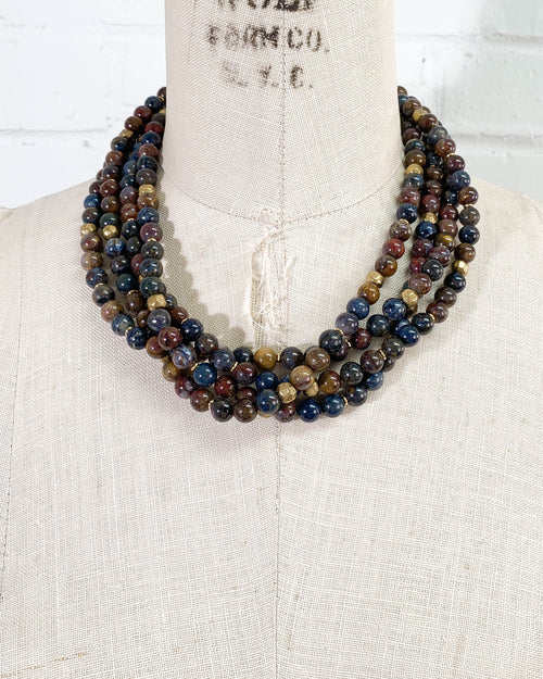 Quadruple Strand Pietersite Statement Necklace