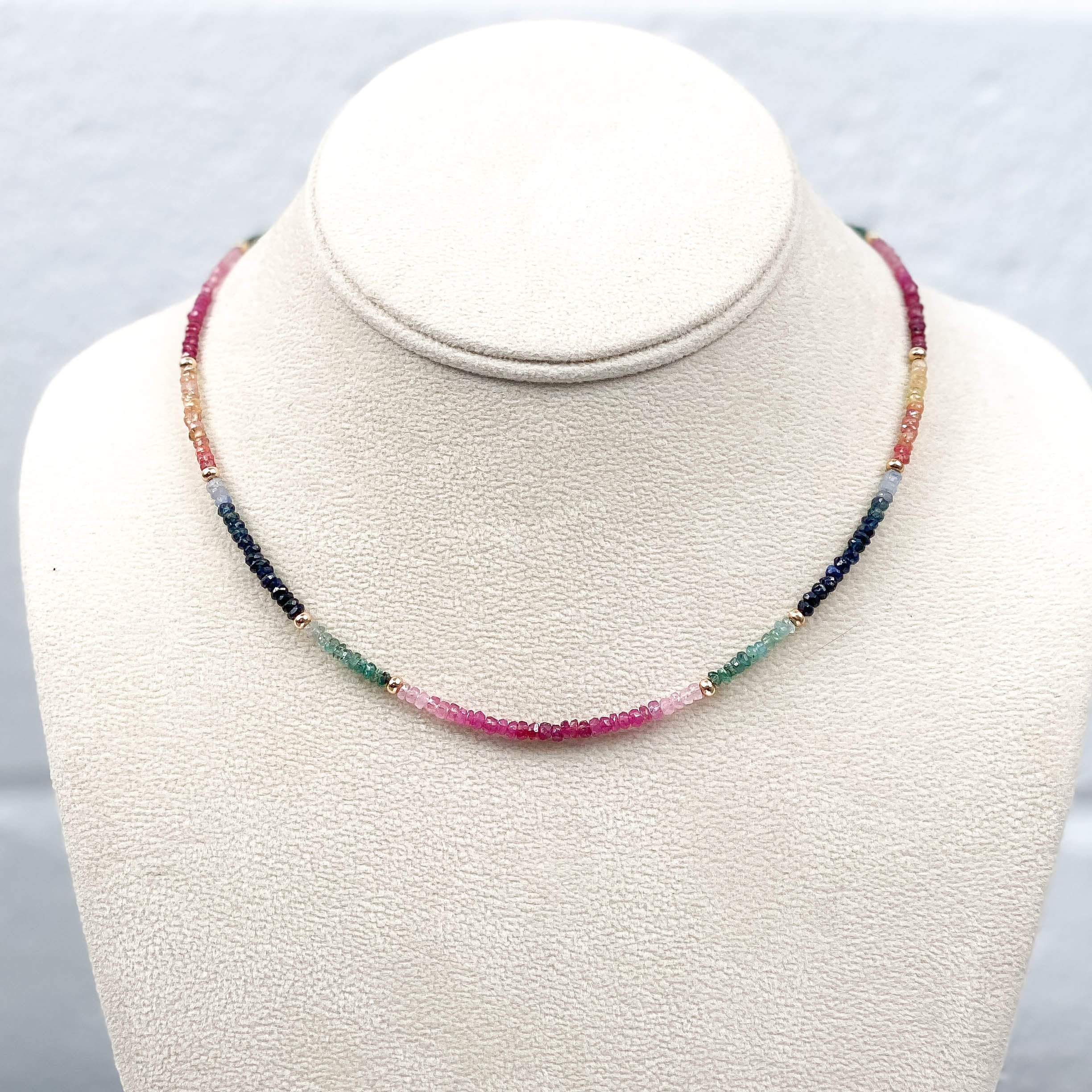 Ruby, Blue & Orange Sapphire, & Emerald Necklace