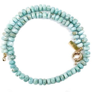 Turquoise Blue Larimar Hand-Knotted Necklace