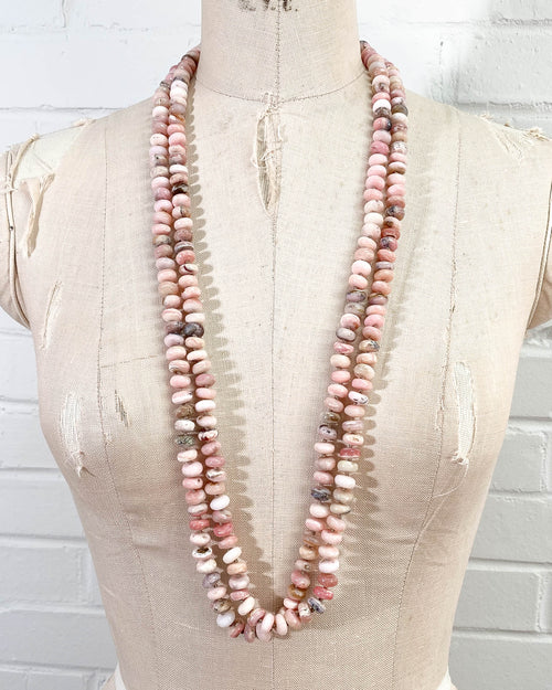 Hand-Knotted Peruvian Fire Opal Double Strand Necklace