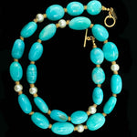 Amazonite Nugget & Pearl Necklace