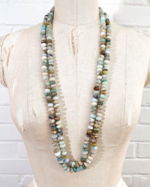 Hand-Knotted Double Strand Peruvian Opal Necklace