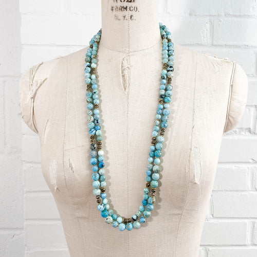 Blue Opal Double Strand Necklace