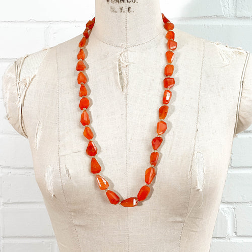 Geometric Carnelian Statement Necklace