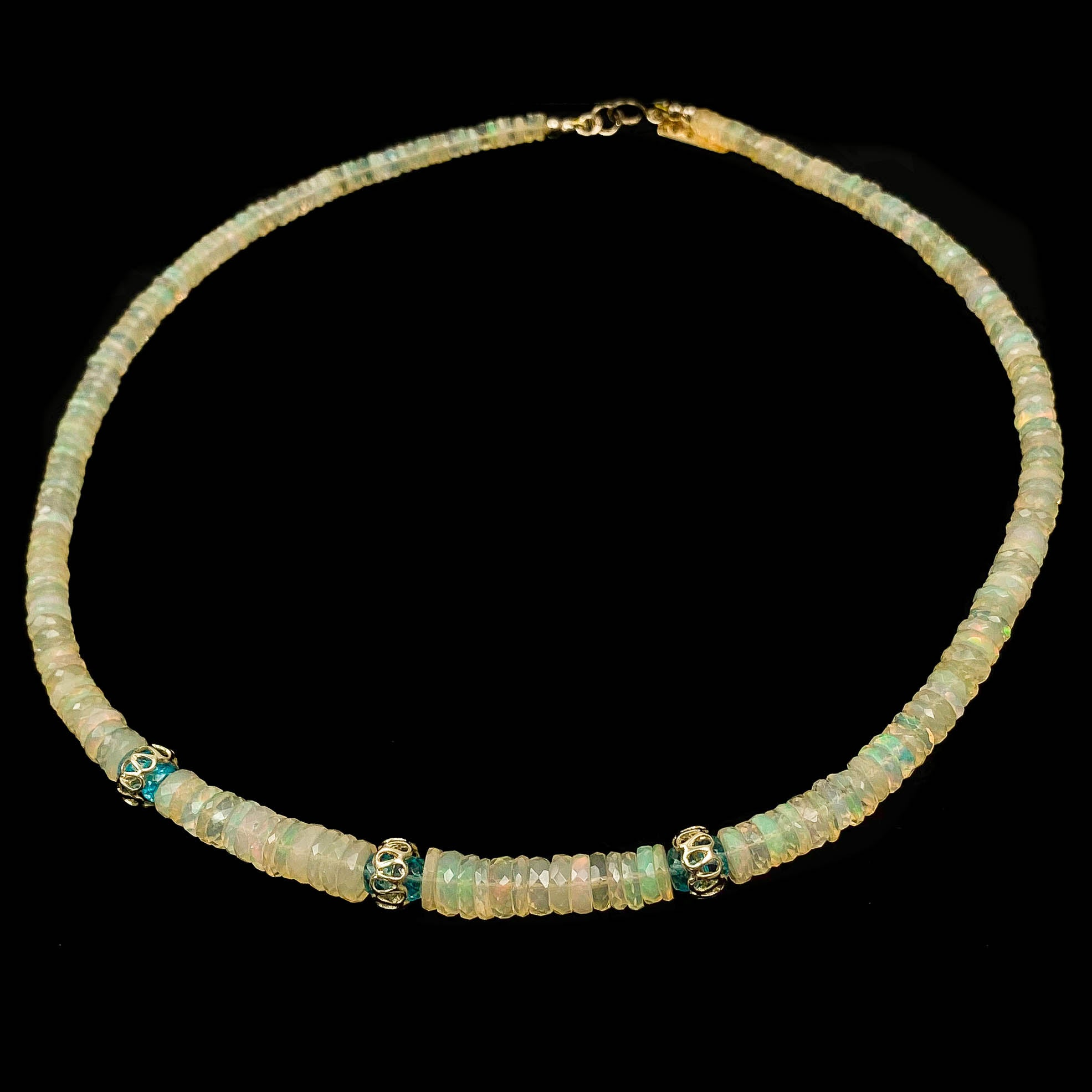 14k Gold, Ethiopian Welo Opal, Blue Apatite Necklace