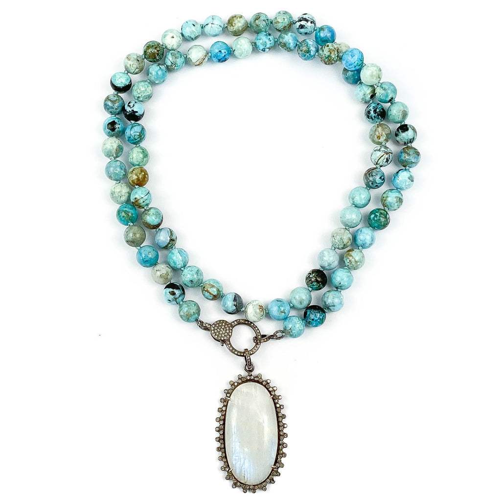 Diamond, Moonstone, and Blue Opal Necklace