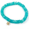 14k Gold Diamond Flower Charm on Amazonite Bracelet