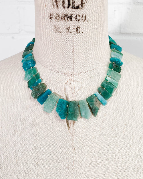 14k Gold Emerald, Aquamarine, Amazonite Necklace