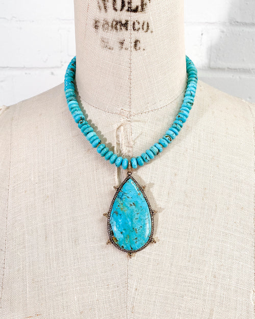 Pavé Diamond Sleeping Beauty Turquoise Necklace