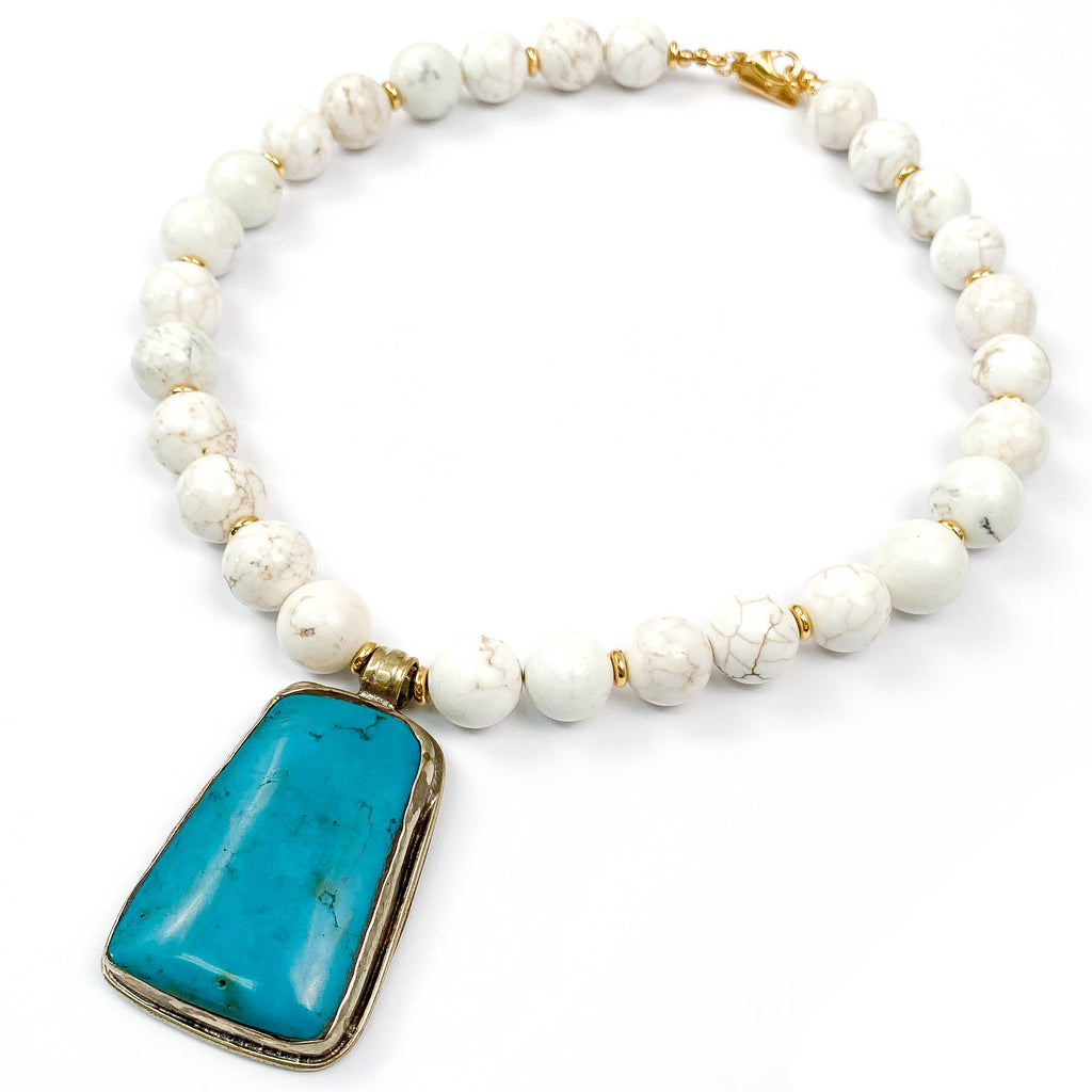 Nepali Turquoise Pendant on White Magnesite Statement Necklace