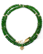 14k Gold & Diamond Charm Emerald Green Chrome Diopside Necklace