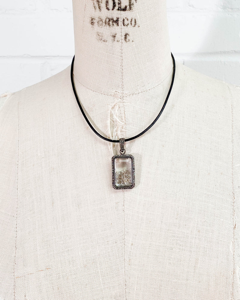 Champagne Diamond Shaker Pendant on Leather Cording Necklace
