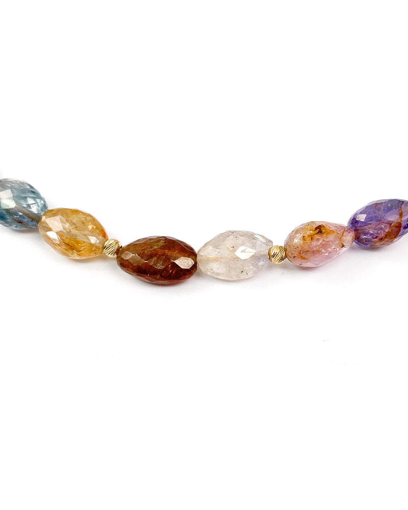 14k Gold Multi-Color Natural Sapphire Necklace