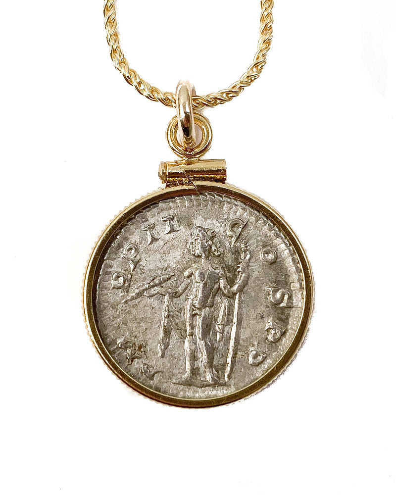 14k Gold Filled Genuine Roman Coin Necklace (Alexander; 223 A.D.)