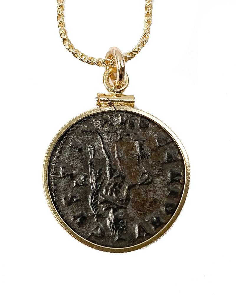 14k Gold Filled Genuine Ancient Roman Coin Necklace (MAXIMINUS II, 312-313 AD)