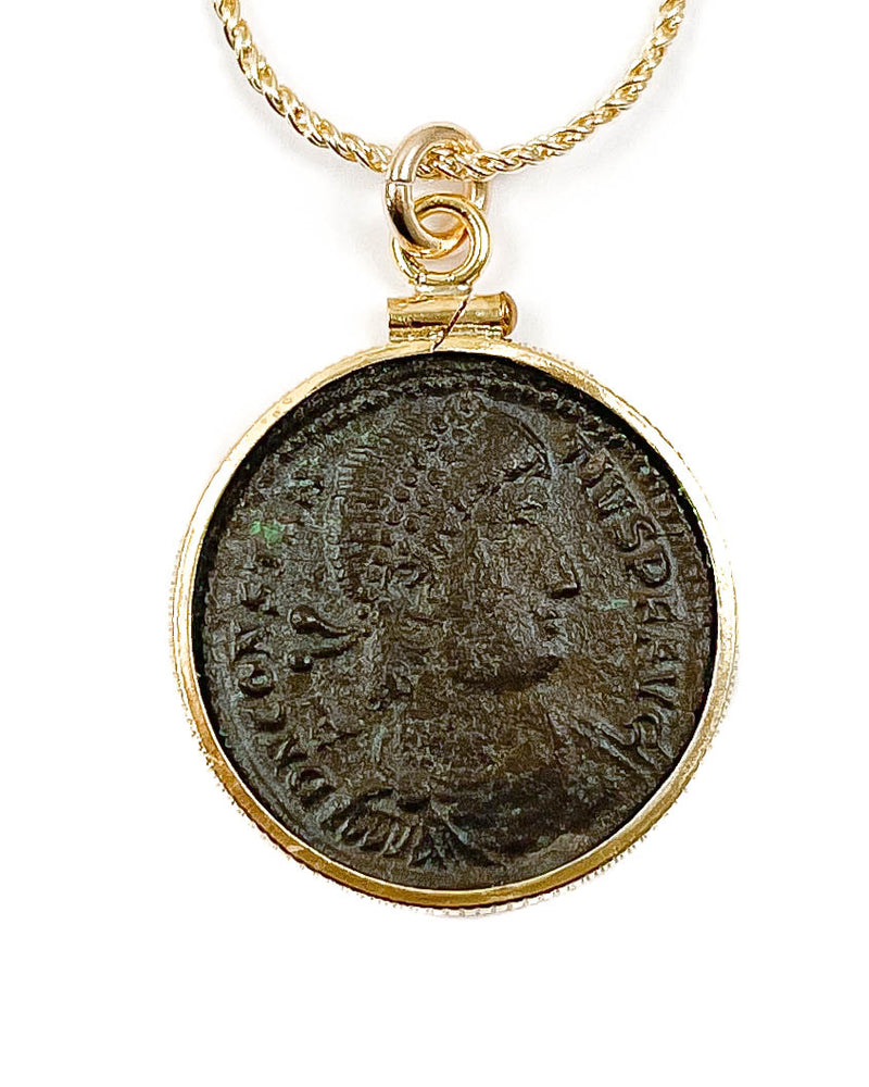 14k Gold Filled Genuine Ancient Roman Coin Necklace (Constantius II; 351-354 A.D.)