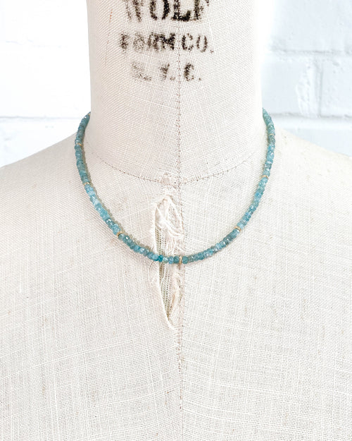 14k Gold Blue Zircon Necklace