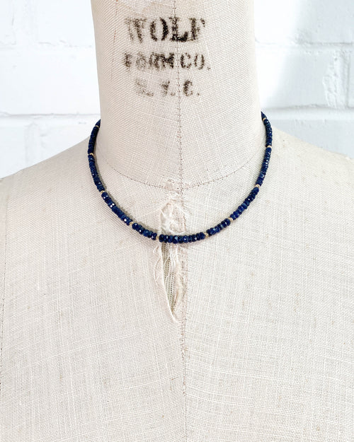 14k Gold Graduated Blue Sapphire Necklace