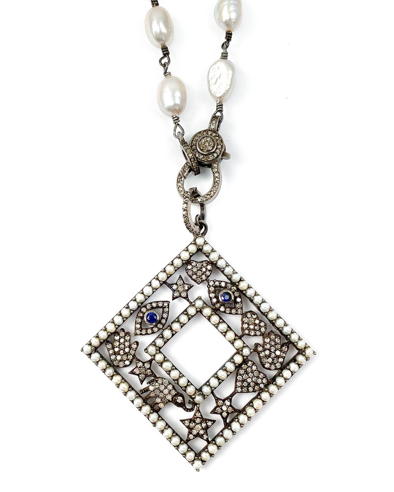Diamond, Sapphire, and Pearl Lucky Pendant on Grey Freshwater Pearl Necklace