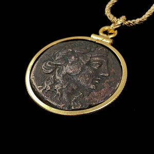 14k Gold Filled Ancient Greek Dionysus Coin Necklace (Mithradates VI; 85-65 BC)