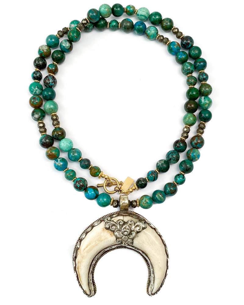 Nepali Repousse Shell Crescent Horn Pendant on Chrysocolla Necklace
