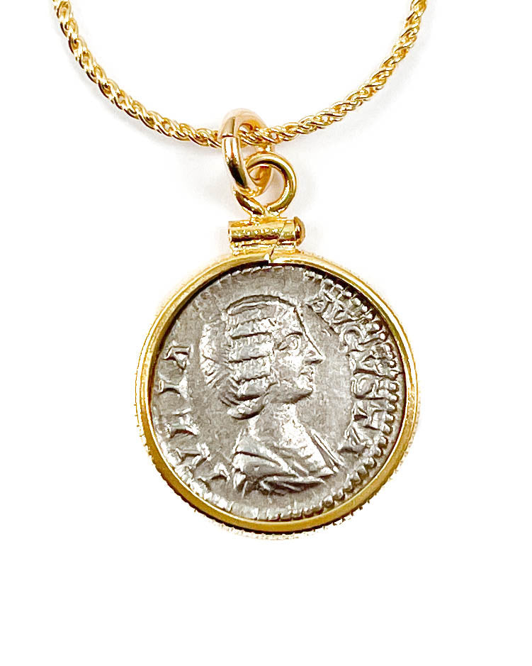 14k Gold Filled Genuine Ancient Roman Coin Necklace (Empress Julia Domna; 196-202 A.D.)