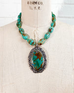 Mohave Sleeping Beauty Turquoise Pendant on Kingman Turquoise Necklace