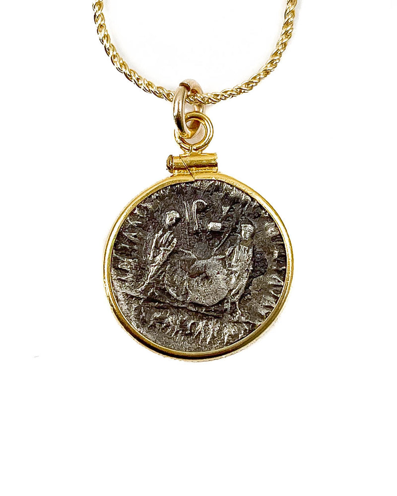 14k Gold Filled Genuine Ancient Greek Coin Necklace (Augustus; 7-6 B.C.)
