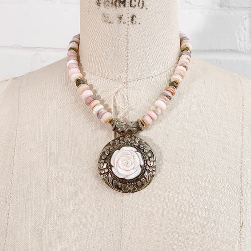 Shell Pearl Carved Rose Pendant on Pink Peruvian Opal Necklace