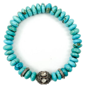 Diamond Ball and Spacer Kingman Turquoise Bracelet