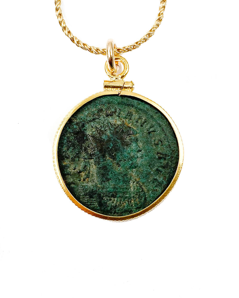 14k Gold Filled Genuine Ancient Roman Coin Necklace (Aurelian; 270-275 A.D.)