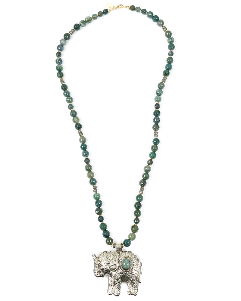 Nepal Jade Elephant Pendant on Moss Agate Necklace