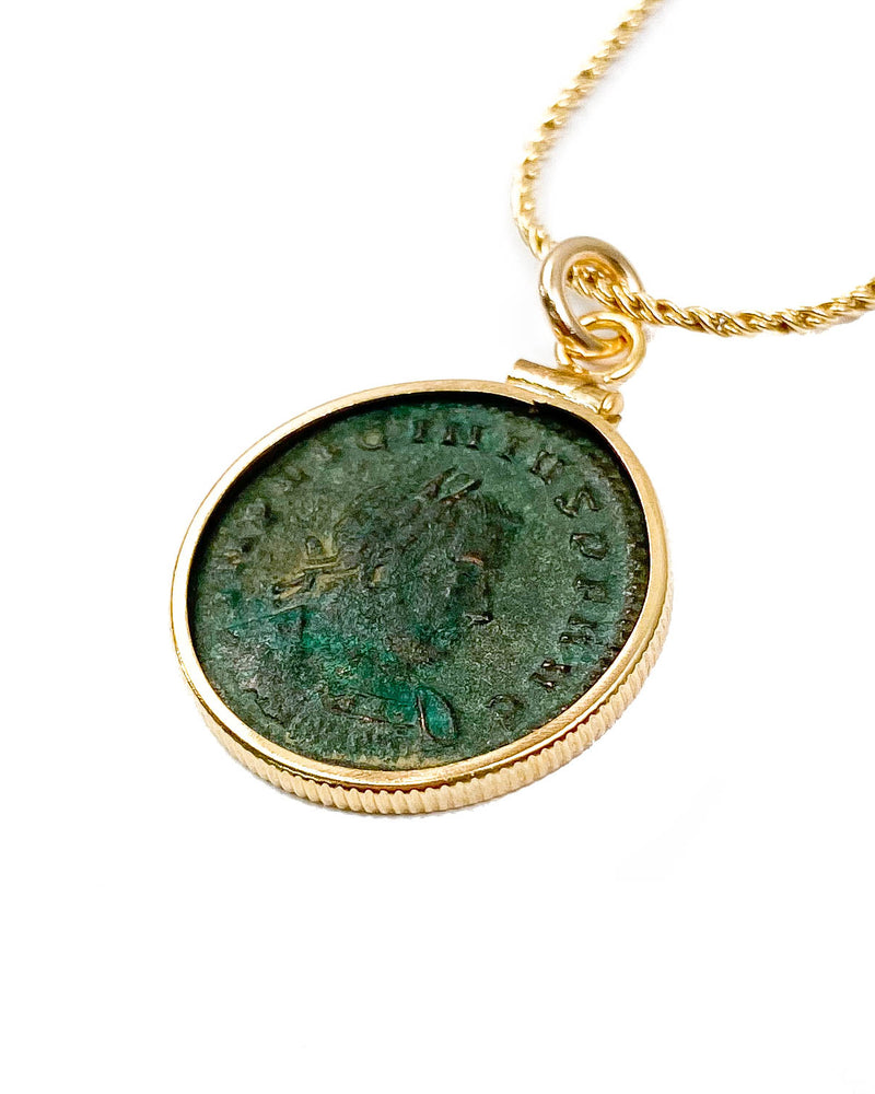14K Gold Filled Genuine Ancient Roman Coin Necklace (Licinius I; 308-324 A.D.)
