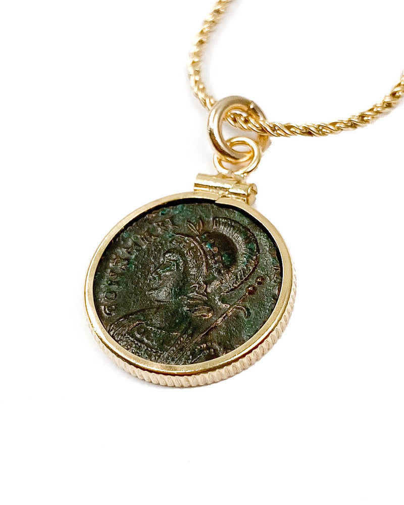 14k Gold Filled Genuine Ancient Roman Coin Necklace (Constantine the Great; 330-333 A.D.)