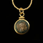 14k Gold Filled Genuine Ancient Greek Coin Necklace (Trojan Athena; 29 B.C. - 14 A.D.)