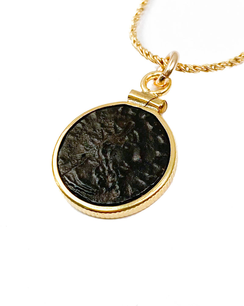 14k Gold Filled Genuine Ancient Roman Coin Necklace (Tetricus I; 271-274 A.D.)