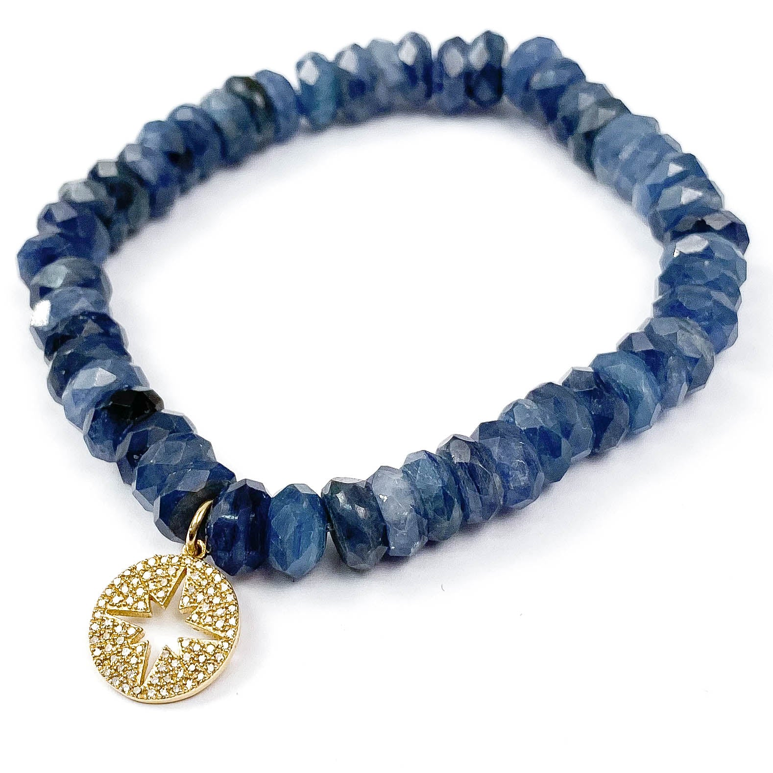 14k Gold Diamond North Star Charm on Kyanite Bracelet