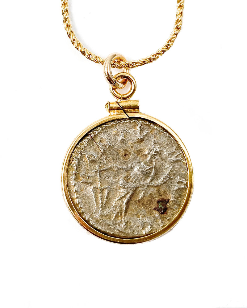 14k Gold Filled Ancient Roman Coin Necklace (Postumus; 266 A.D.)