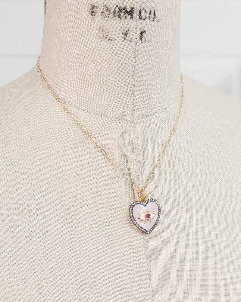 Diamond, Ruby, & Enamel Heart Pendant Necklace