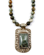 Nepali Moss Aquamarine Repousse Pendant on Hawk's Eye Necklace