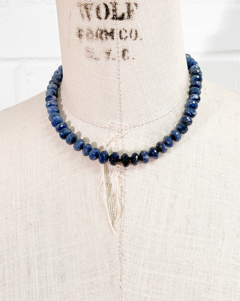 Blue Sapphire Knotted Strand Necklace